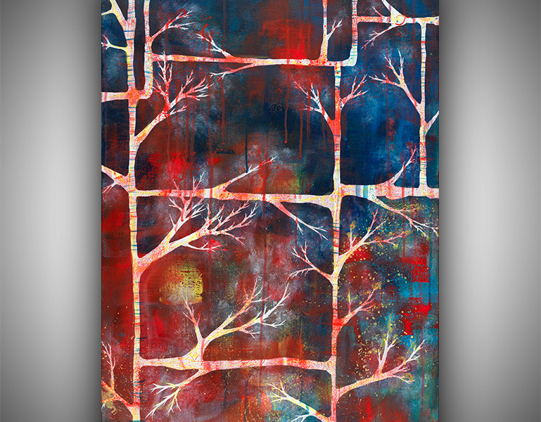 100% Hand-Painted Original Abstract Painting on Canvas – Woven Into Branches (30×20)